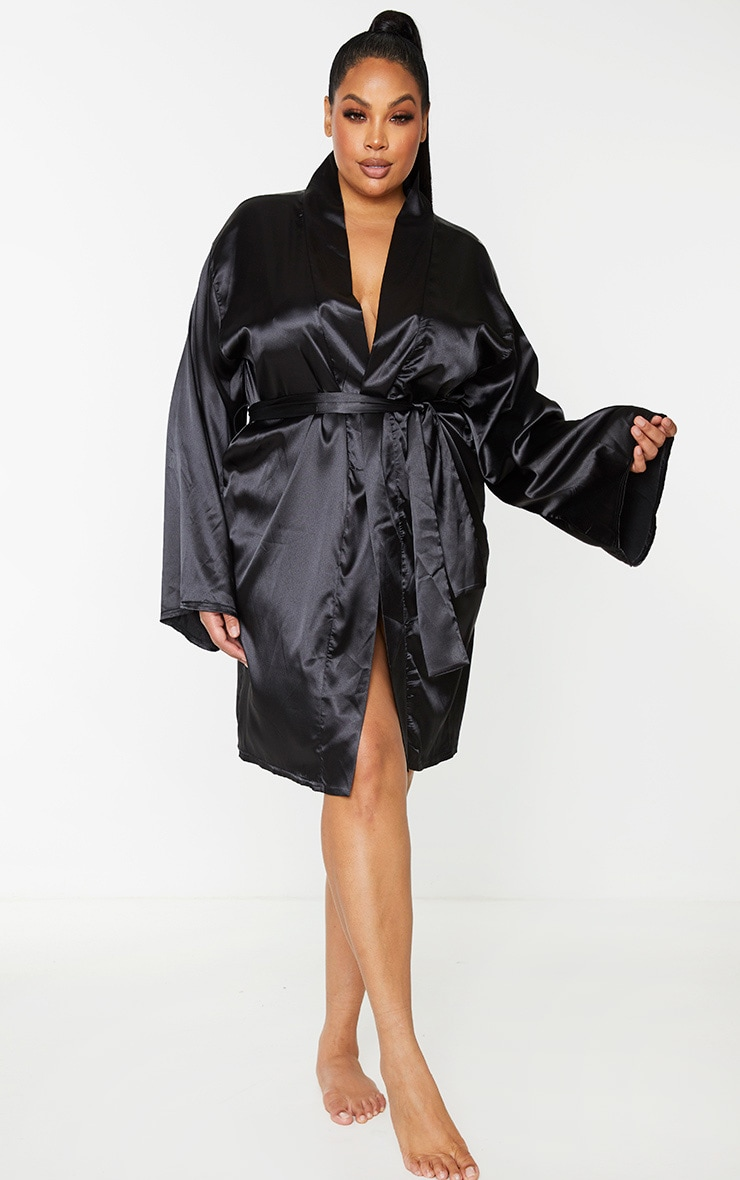Plus Black Satin Robe 3
