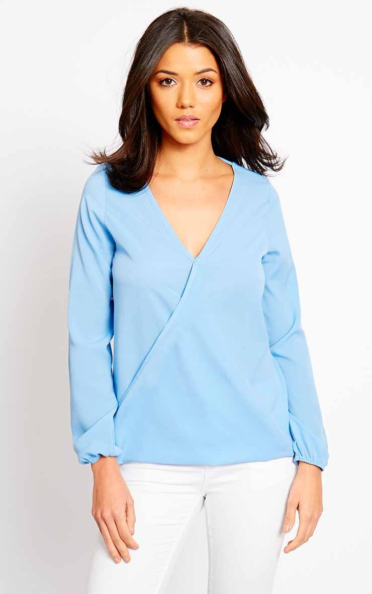 Julie Powder Blue Cross Front Blouse 4