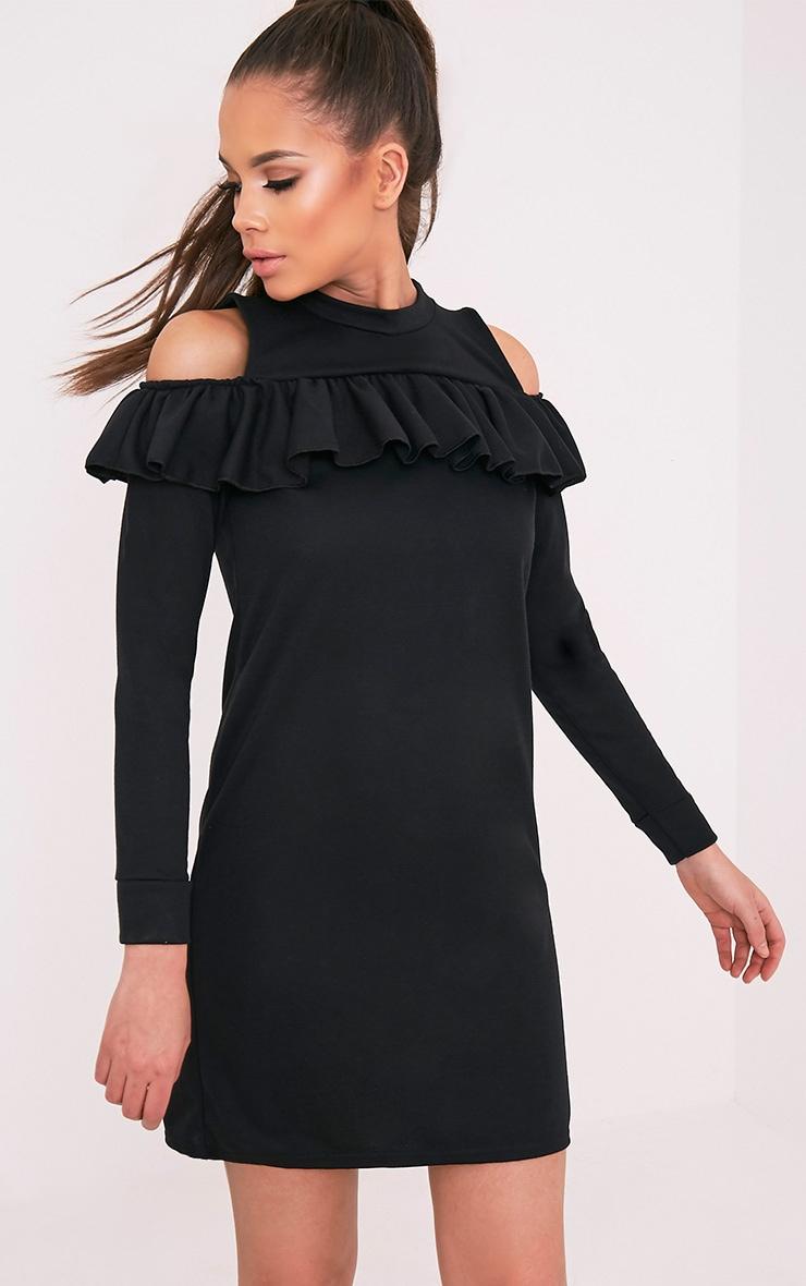 Bridy Black Cold Shoulder Sweater Dress 1