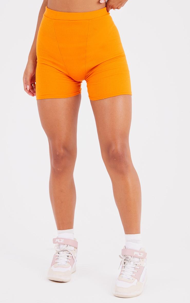 Bright Orange Ribbed Bike Shorts 2