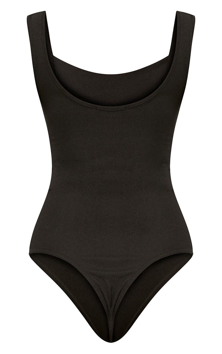 Black Structured Detail Thong Bodysuit 4