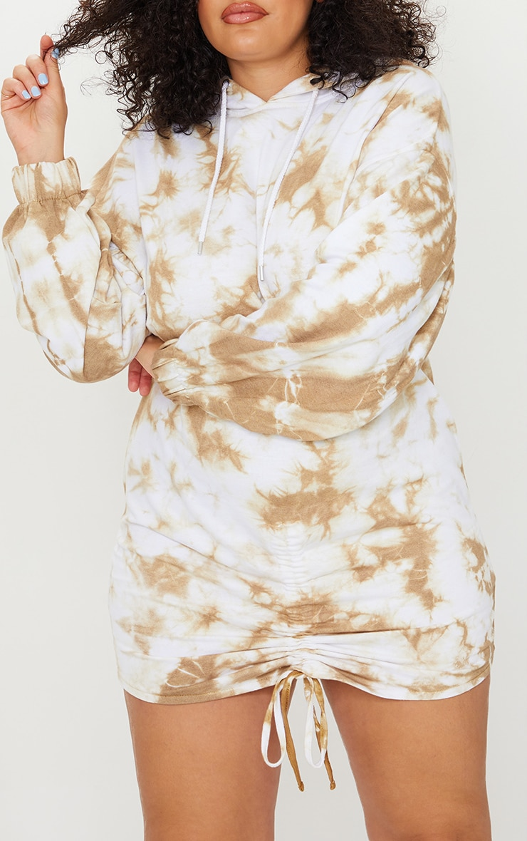 Plus Stone Tie Dye Ruched Hooded Sweat Dress 4