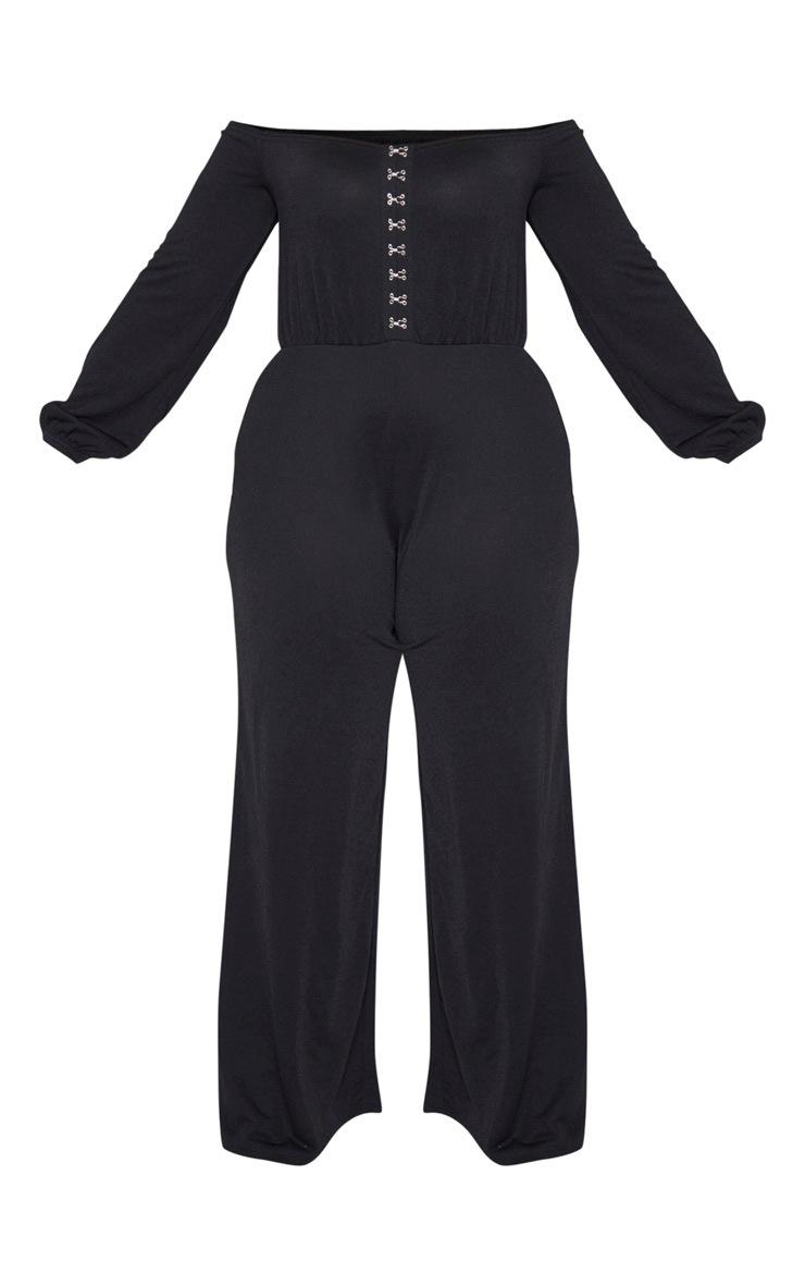 Plus Black Eyelet Detail Wide Leg Jumpsuit 3