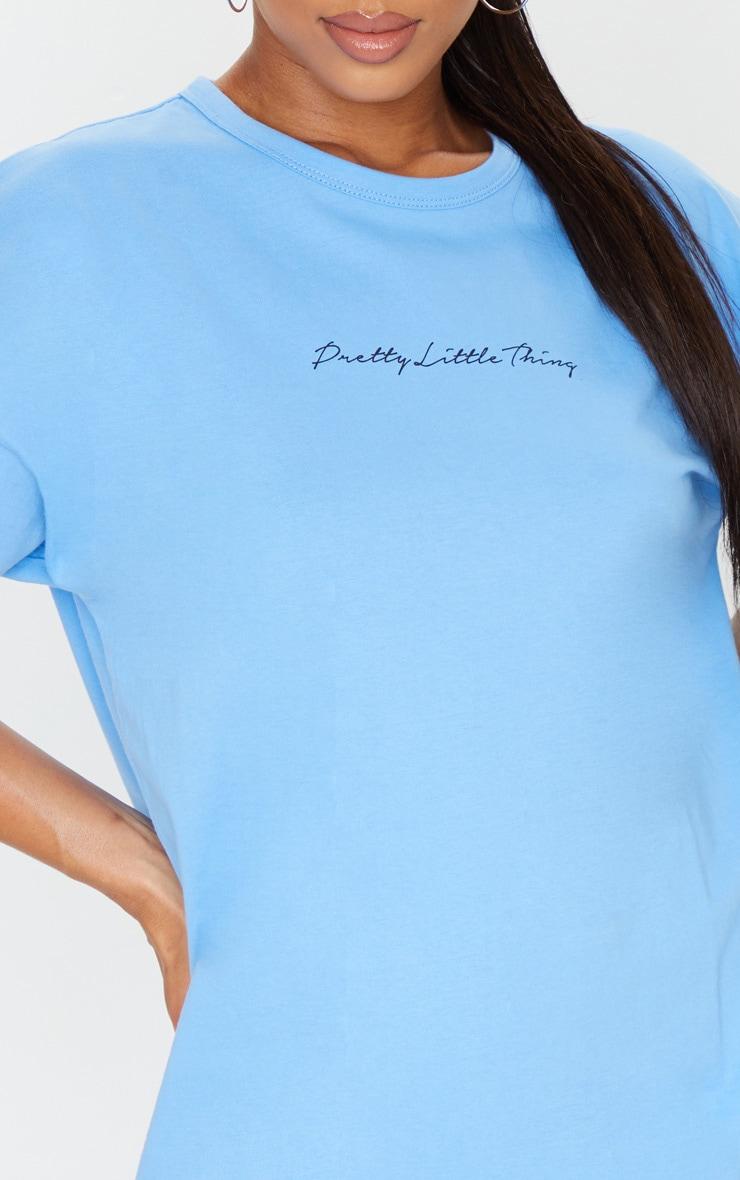 PRETTYLITTLETHING Sky Blue Slogan Oversized Boyfriend T Shirt Dress 4