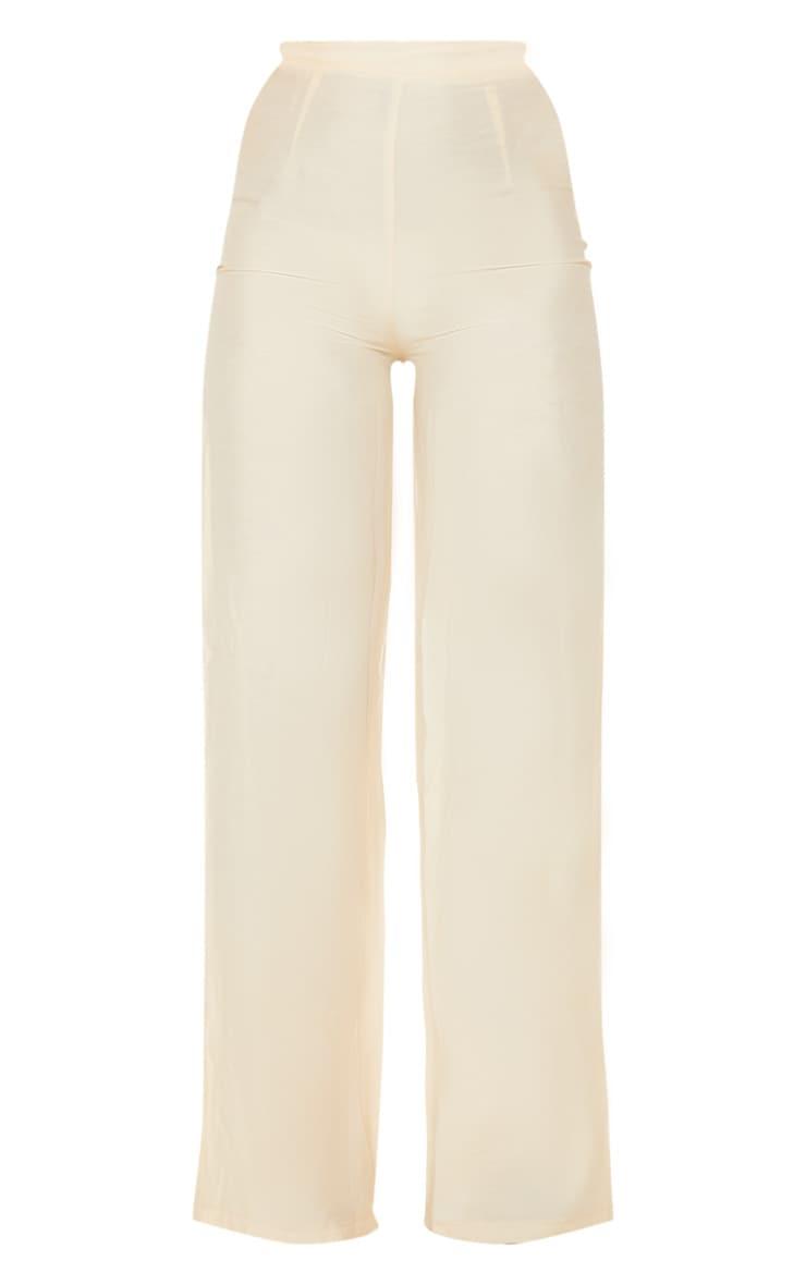 Cream Woven High Waisted Wide Leg Pants 3