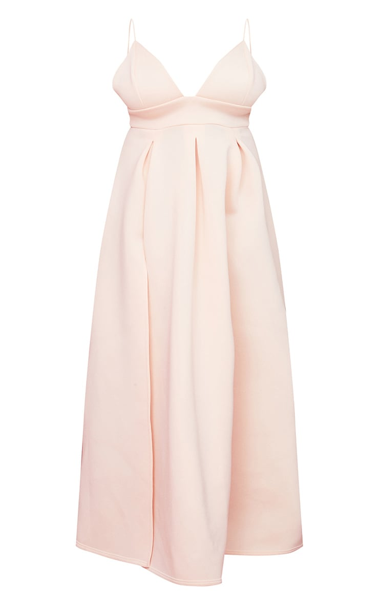 Plus Nude Scuba Strappy Plunge Maxi Dress 5