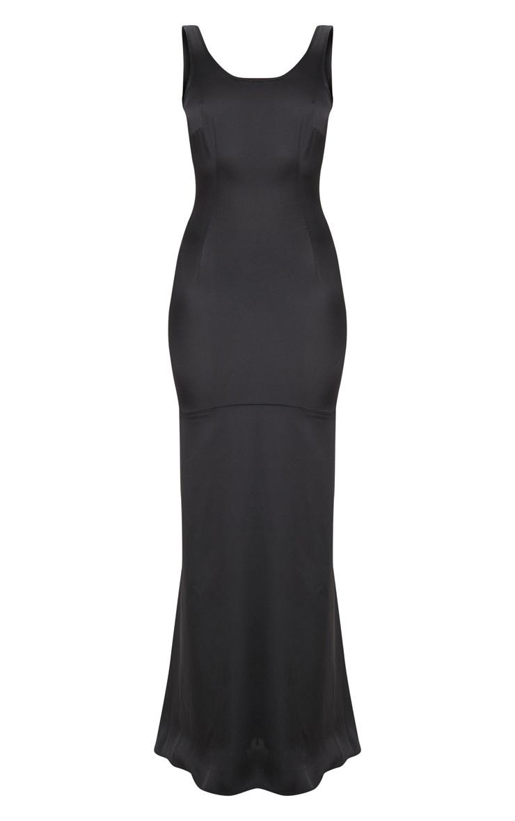 Black Satin Thick Strap Fishtail Maxi Dress 3