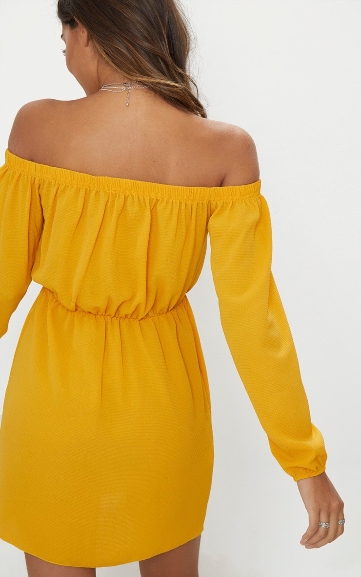 Mustard Bardot Puff Sleeve Skater Dress 2