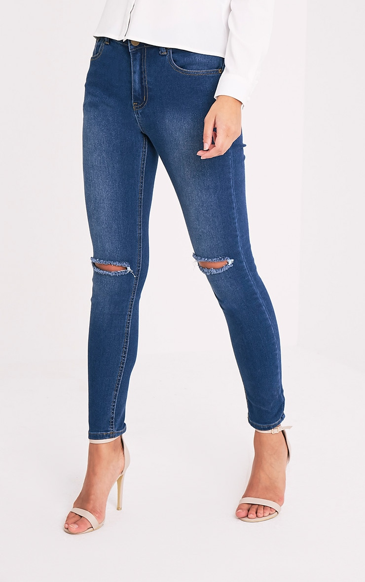 Mid Wash Knee Rip Slim Jean 3