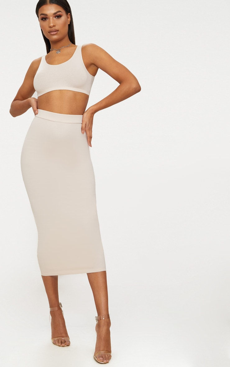 Cream Second Skin Bodycon Midaxi Skirt 2