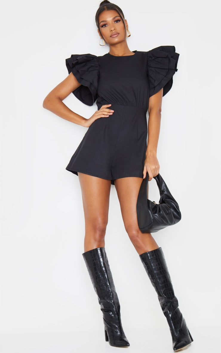 Black Frill Sleeve Woven Playsuit 3