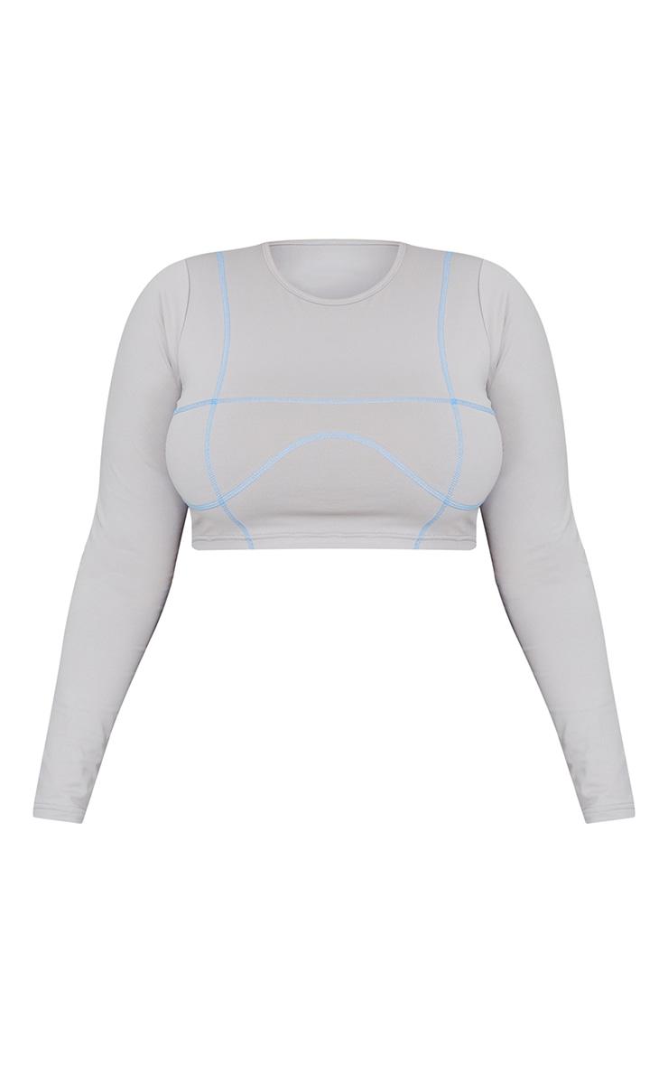 Plus Ash Grey Stitch Detail Long Sleeve Cropped Gym Top 5