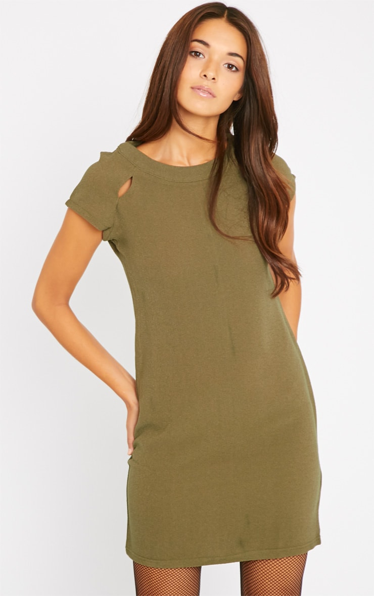 Hannah Khaki Waffle Shift Dress 1