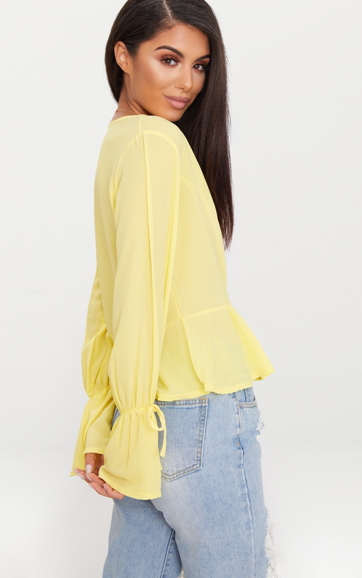 Lemon Chiffon Deep Plunge Blouse  2
