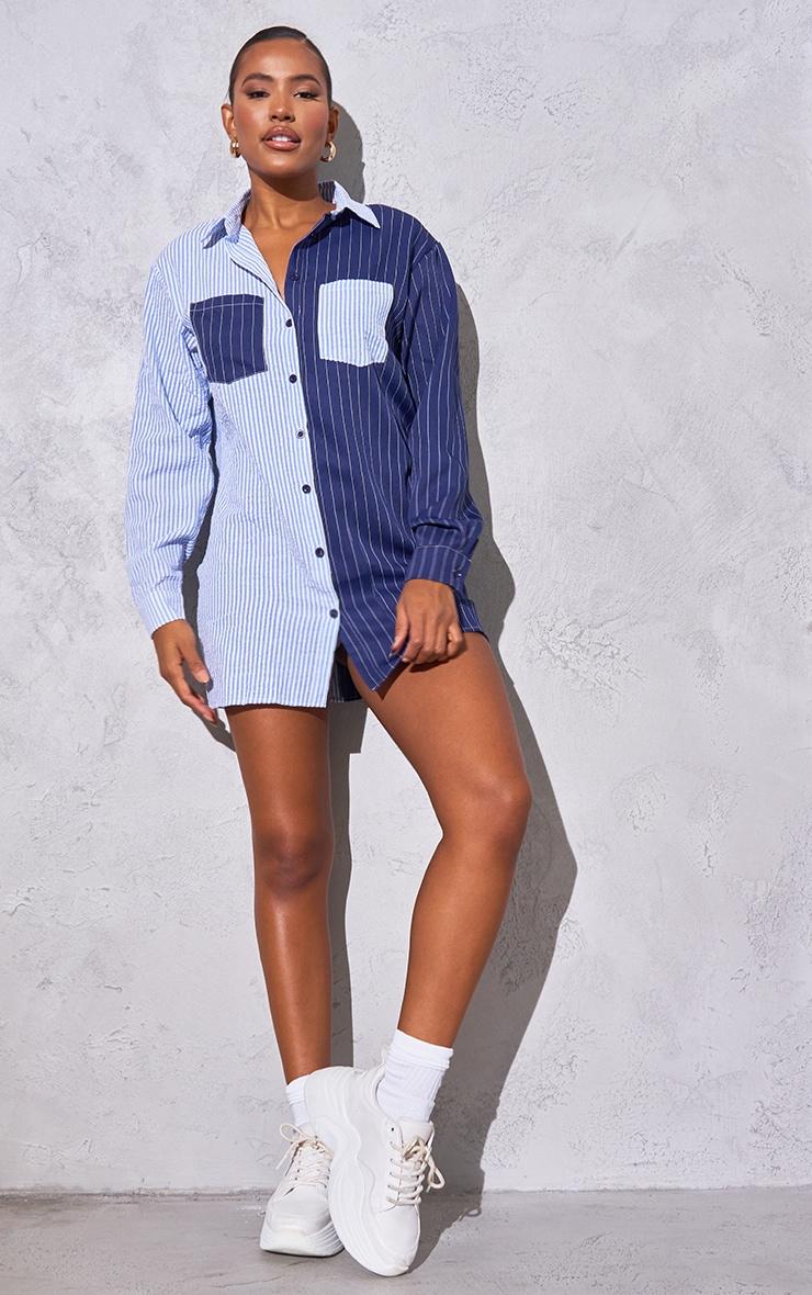 Baby Blue Flannel Contrast Pinstripe Button Down Oversized Shirt Dress 1