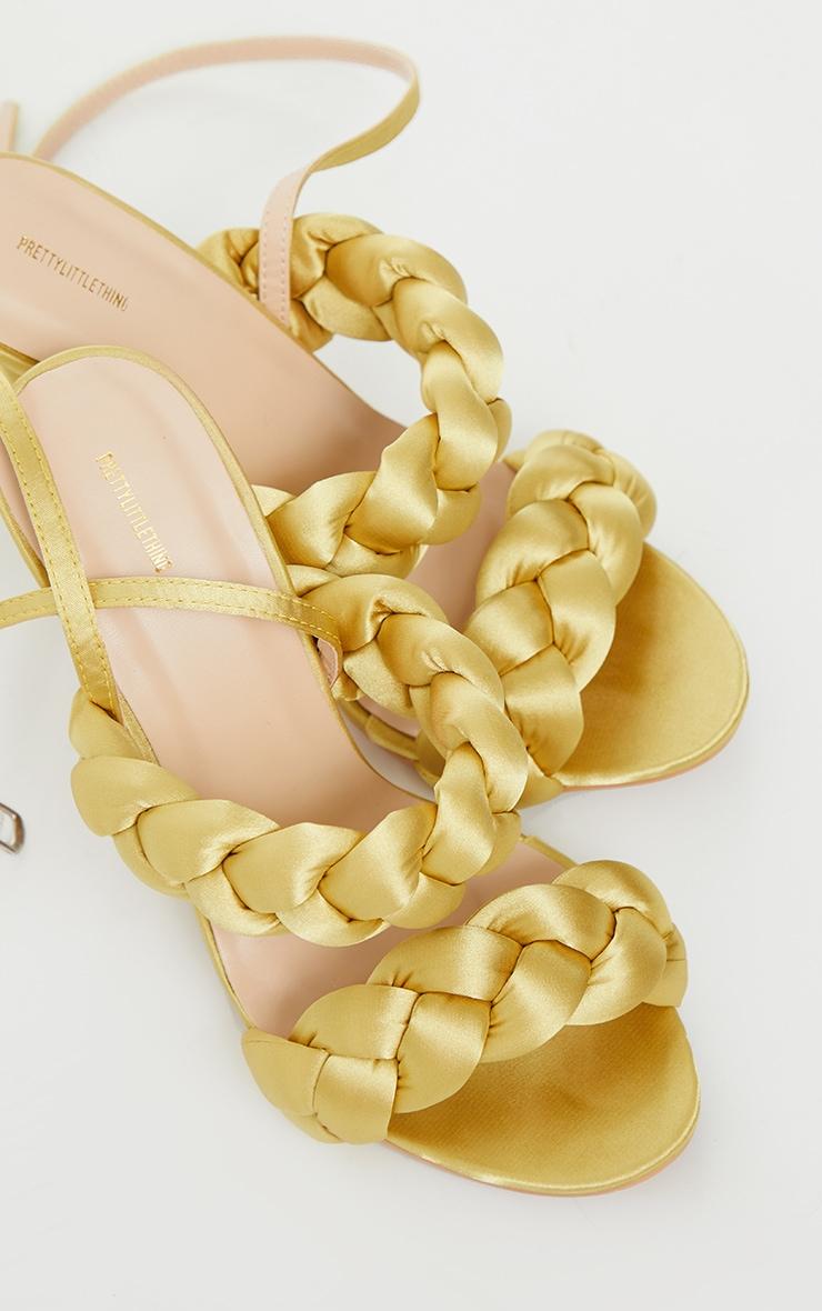 Gold Satin Chunky Plaited High Heels 3
