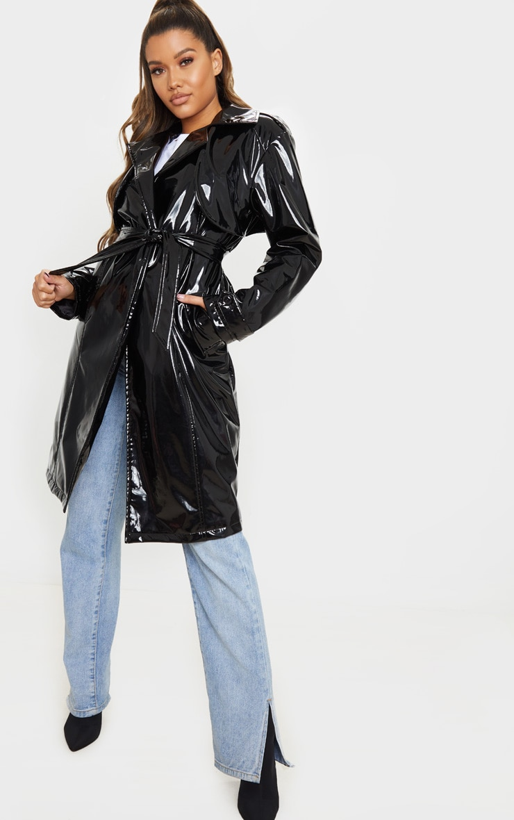Black Belted Patent Trench Coat 1