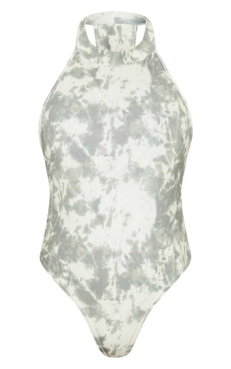 Khaki Tie Dye Crepe Halterneck Back Panel Bodysuit 5