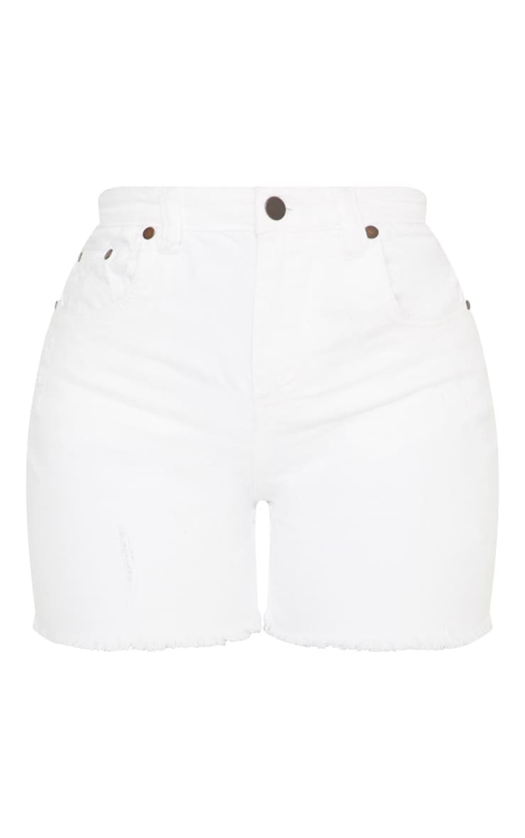 Shape White High Waisted Denim Shorts 3