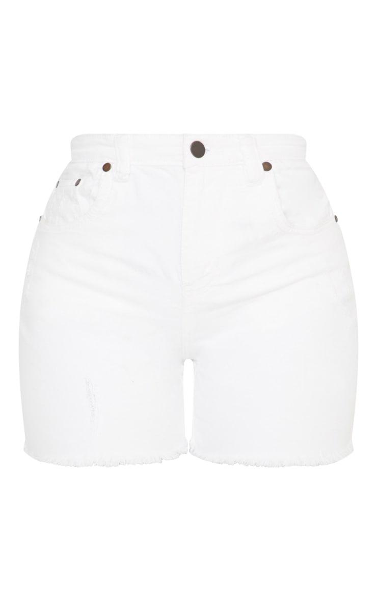 Shape - Short en jean blanc à taille haute 3