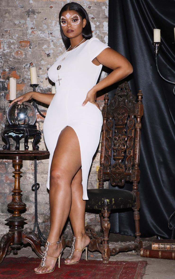 PLT Plus - Robe mi-longue blanche côtelée à manches courtes fendues 4