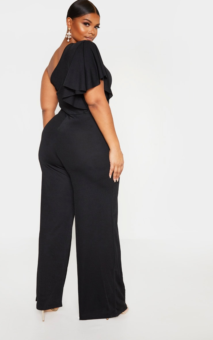 Plus Black One Shoulder Frill Detail Wide Leg Jumpsuit 2