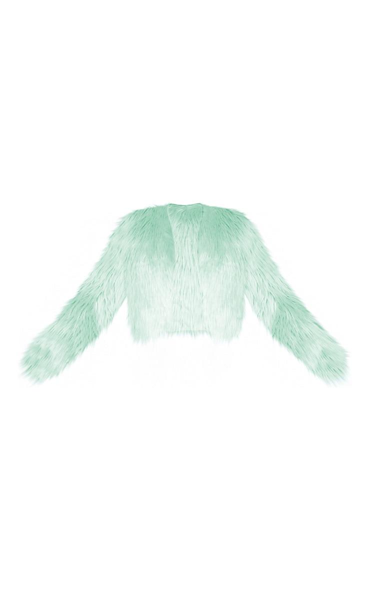Sage Cropped Shaggy Faux Fur Jacket  3