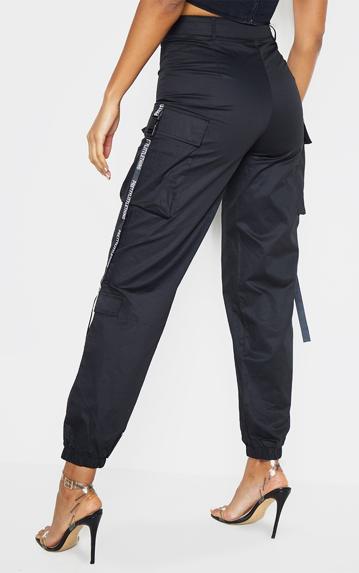 PRETTYLITTLETHING Black Tape Pocket Detail Cargo Joggers 4