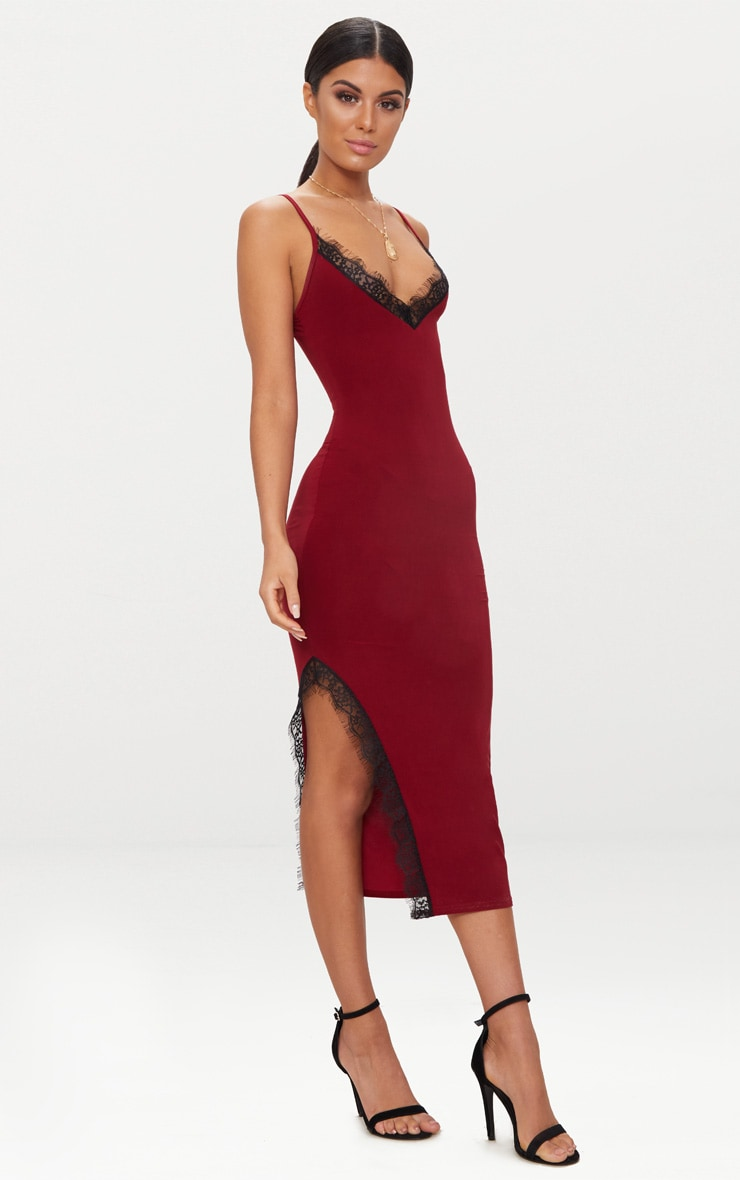 Burgundy Strappy Lace Trim Plunge Split Midi Dress 1