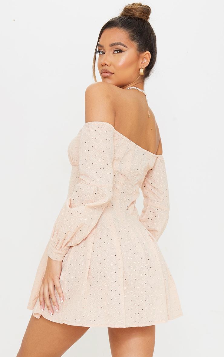 Stone Broderie Anglaise Pleated Bardot Shift Dress 2