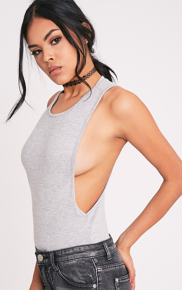 Grey Drop Armhole Thong Bodysuit 2