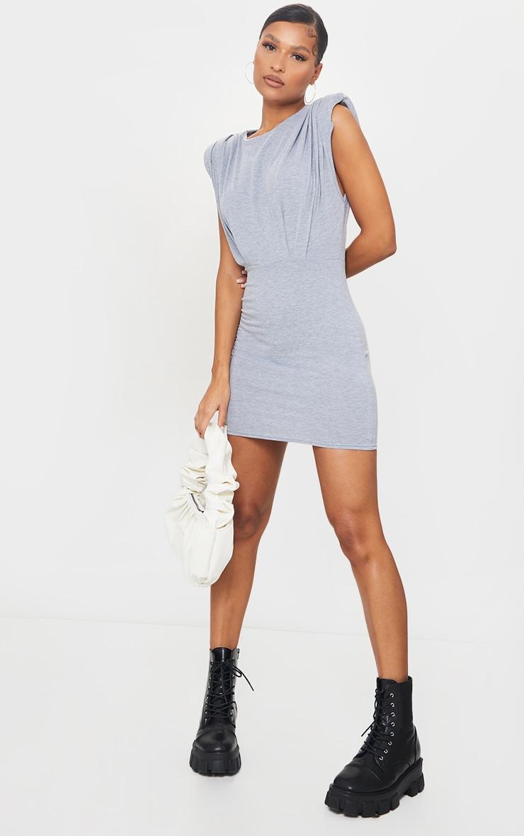 Grey Shoulder Pad Gathered Detail Bodycon Dress 1