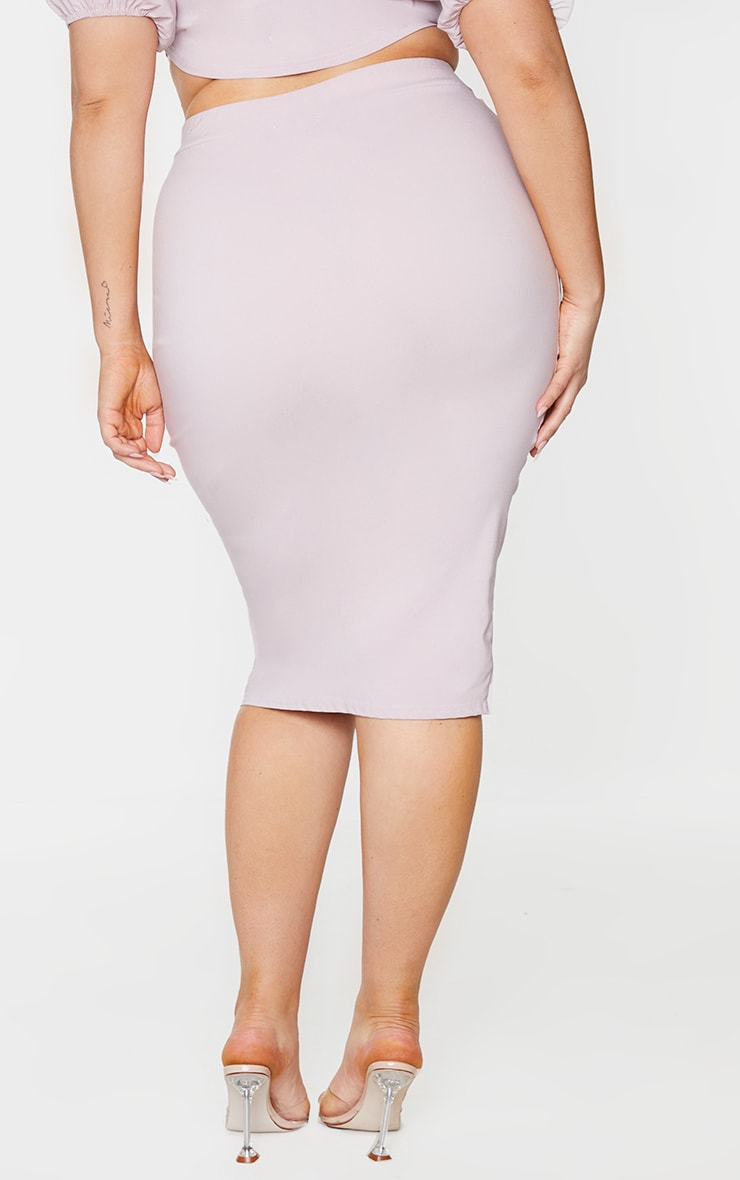 Plus Dusty Pink Stretch Seam Detail Midi Skirt 3