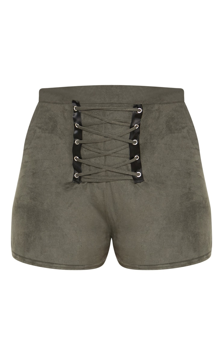 Khaki Faux Suede Lace Up Front Detail Short 3