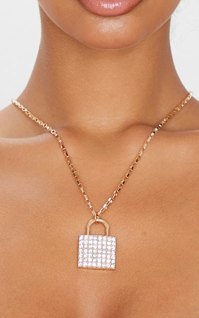 Gold Large Diamante Padlock Necklace
