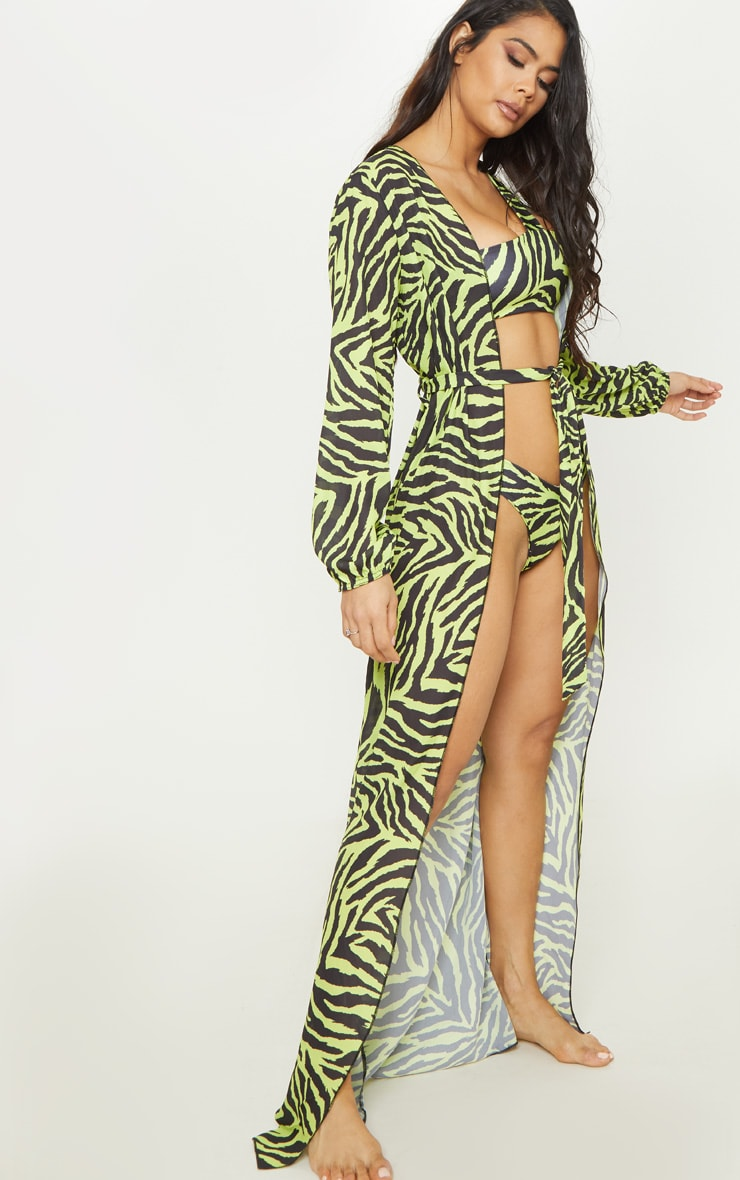 Neon Lime Zebra Tie Waist Kimono 1
