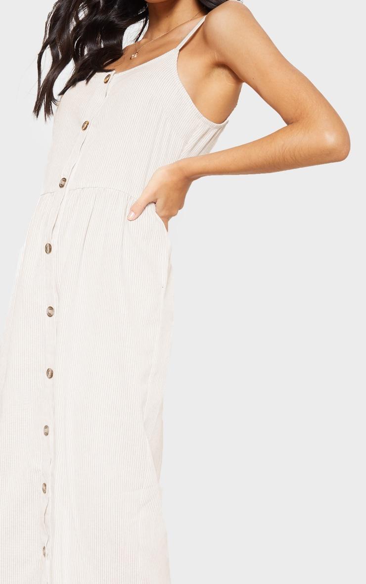Nude Stripe Wooden Button Frill Midi Dress 5