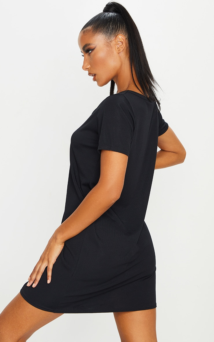 Black Rib Button Up Short Sleeve T Shirt Dress 2