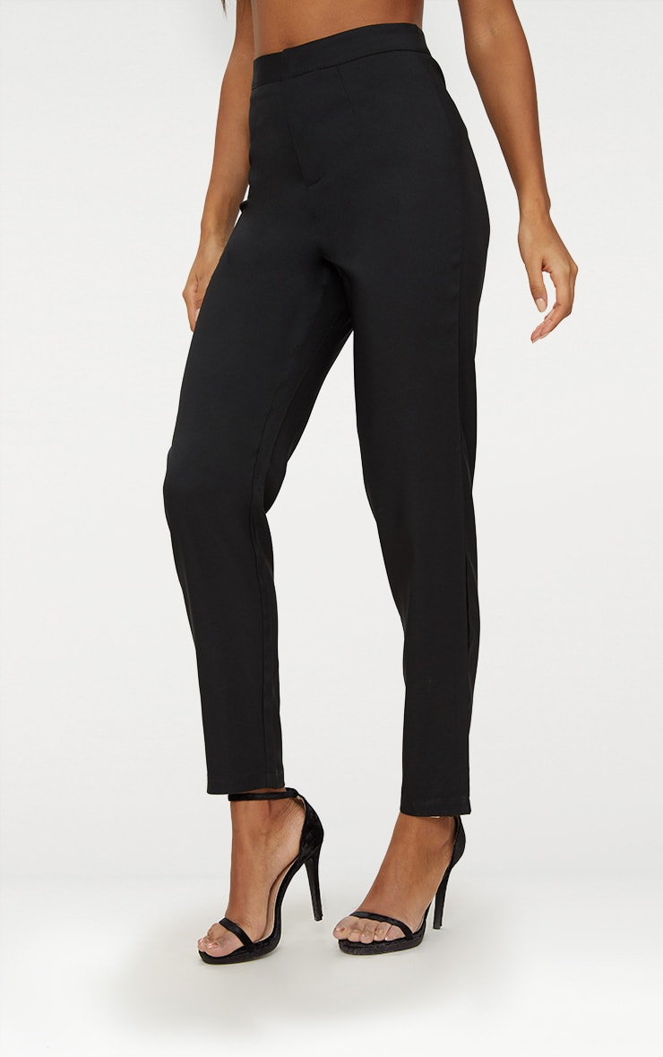 Black Straight Leg Tailored Trousers 2