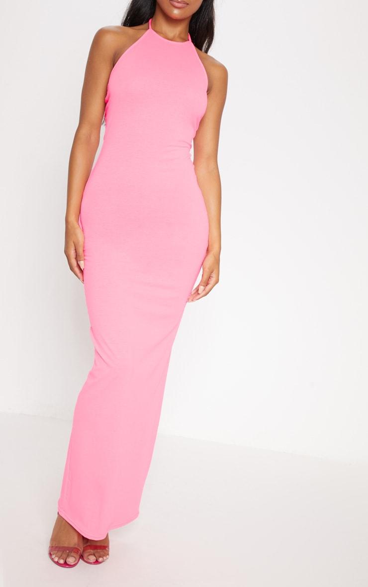 Basic Neon Pink Halterneck Maxi Dress 4