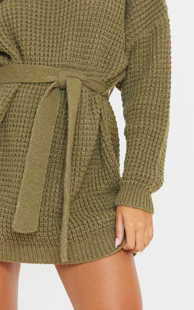 Khaki Soft Touch Belted Knitted Jumper Dress 5