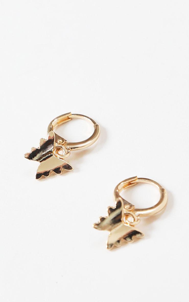 Gold Mini Butterfly Hoop Earrings 1