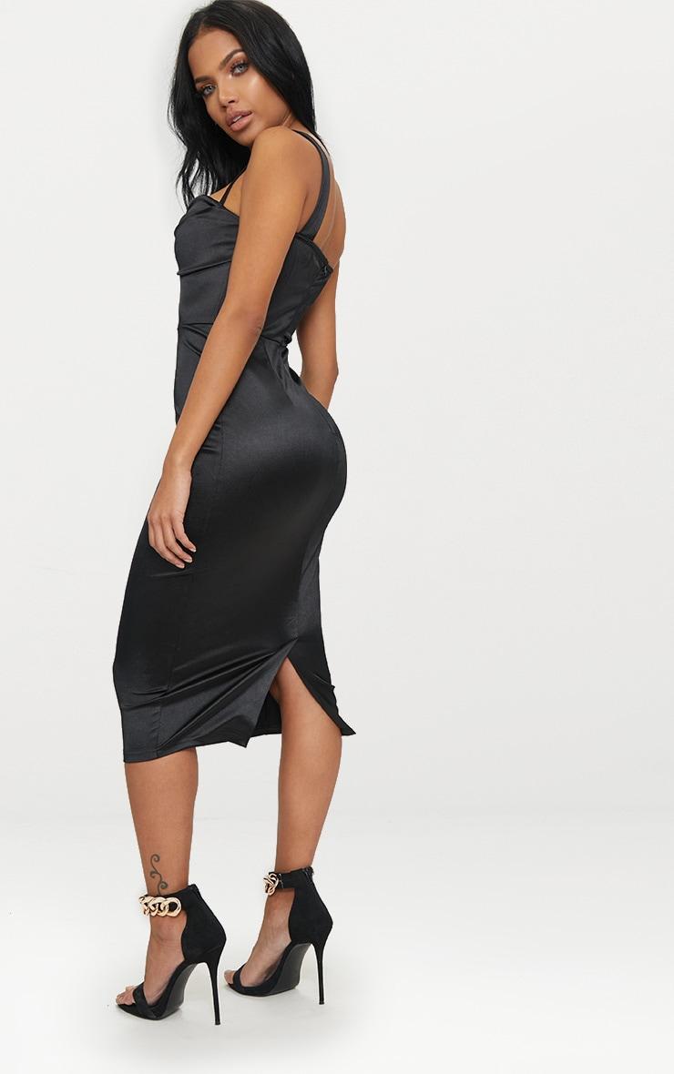 Black Strappy Folded Detail Midi Dress  2