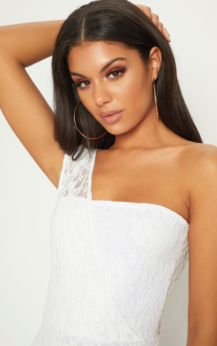 White Lace Drape One Shoulder Jumpsuit 5