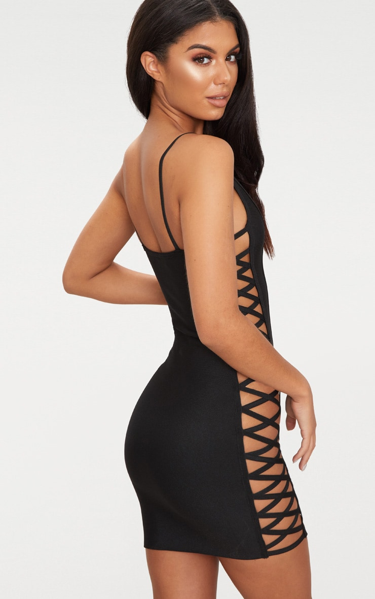 Black Bandage Lace Up Side Bodycon Dress  2