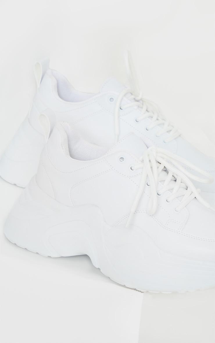 White Extreme Platform Sole Chunky Trainer 4