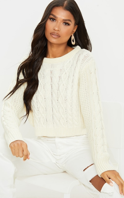Cream Cable Knit Cropped Jumper