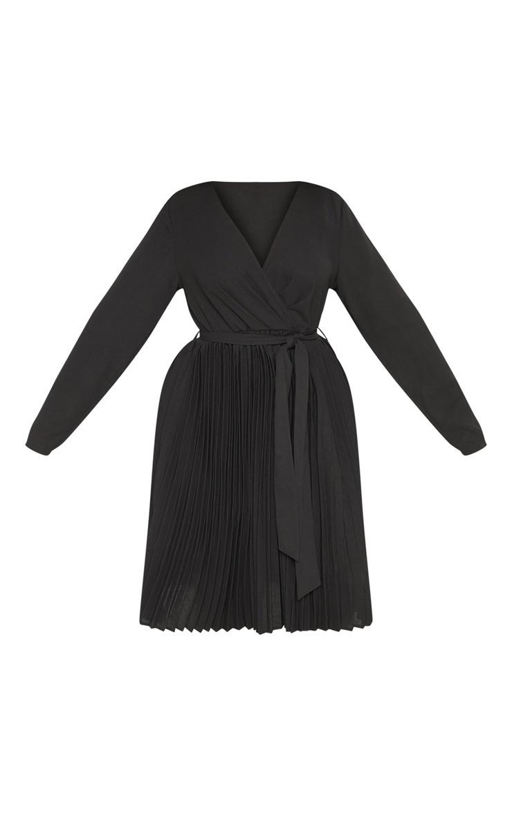 Plus Black Long Sleeve Pleated Midi Dress 3
