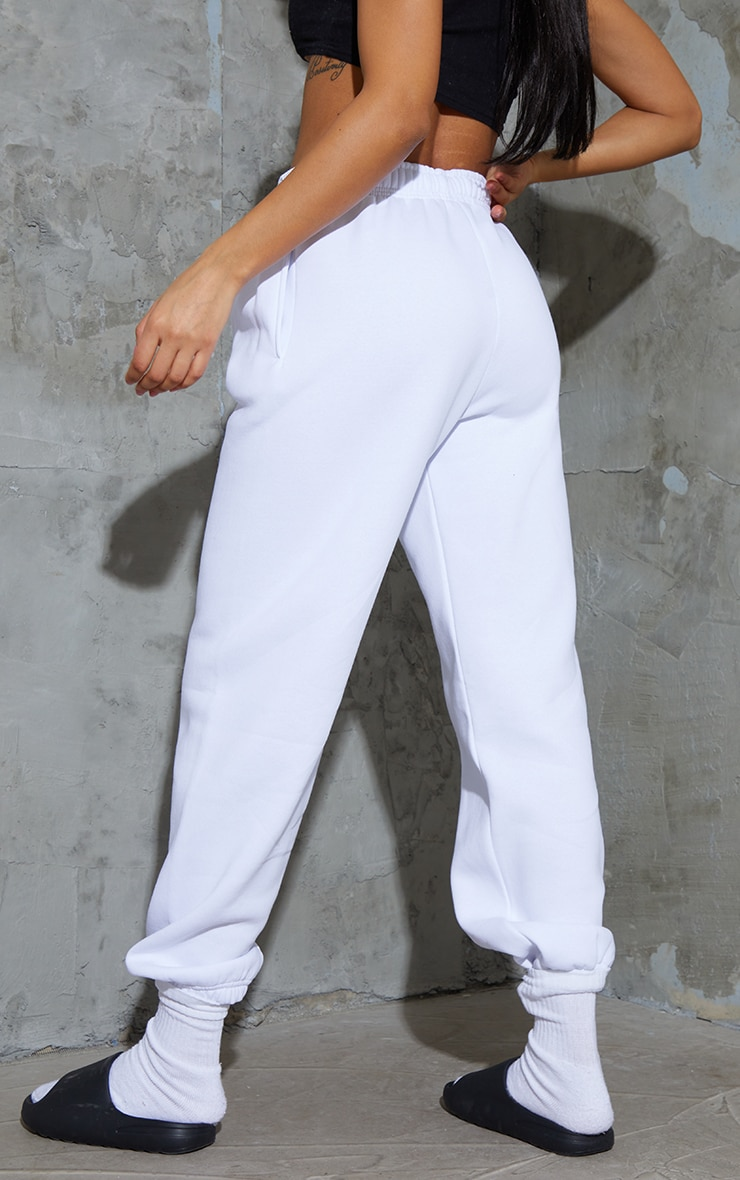 PRETTYLITTLETHING White Branded Badge Detail Joggers 3