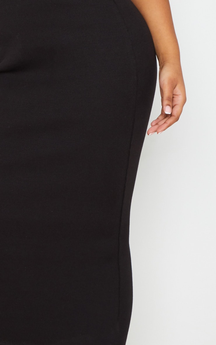 Black Structured Rib Bodycon Midaxi Skirt 5